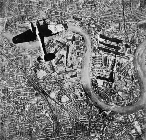 German bomber over England during the Blitz.