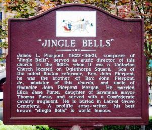 """Historical marker in Savannah, Ga., recognizing location where """"Jingle Bells"""" was penned."""