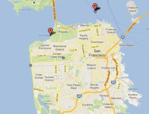 Map showing 1962 shark attack at Steinhart Aquarium in Golden Gate Park.