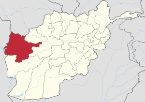 Map of Afghanistan, with province of Herat in red.