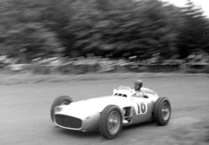 Juan Manuel Fangio driving the famed Mercedes W196 at the German Grand Prix in 1954.