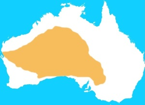 Traditional range of pig-footed bandicoot is shown in brown. Source: Wikipedia.