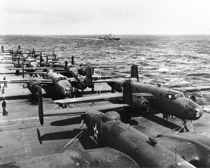 B-25 bombers on the USS Hornet en route to Japan to take part in Doolittle Raid.