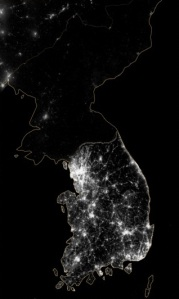 NASA Image of the Korean Peninsula, showing discrepancies in energy use between North and South Korea.