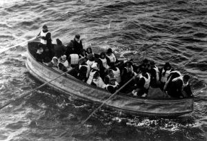 One of the Titanic's collapsible lifeboats shortly before being picked up by the Carpathia on the morning of April 15, 1912.
