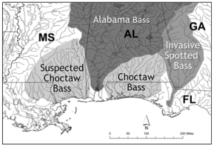 Map of range of Choctaw bass.