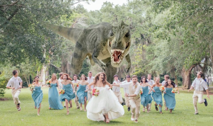 t rex wedding photo