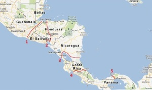 Route No. 3 shows a proposed canal route through Nicaragua.