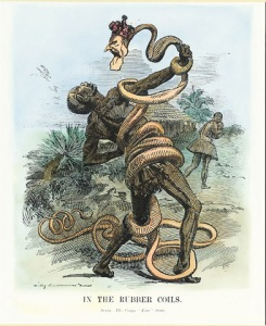British editorial cartoon showing Leopold II as a rubber vine entwined around African native.