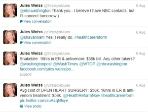 Jules Weiss's Twitter feed showing attempts to promote her