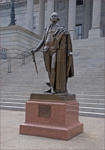 Copy of Houdon's statue of Washington, done in bronze, showing walking cane broken off by Union troops in 1865.