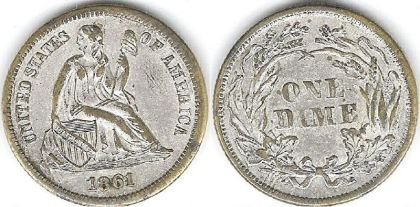 1861 counterfeit dime