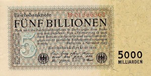 A 5 billion German papiermark note issued in late 1923.