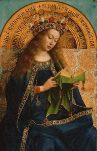 Panel from the Ghent Altarpiece showing Mary.