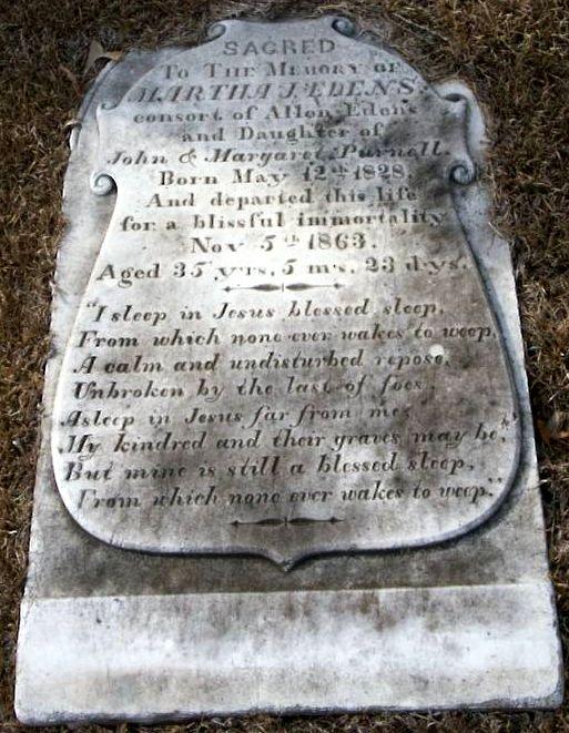 Martha Jane Edens gravestone, McLucas Cemetery, Clio, SC.
