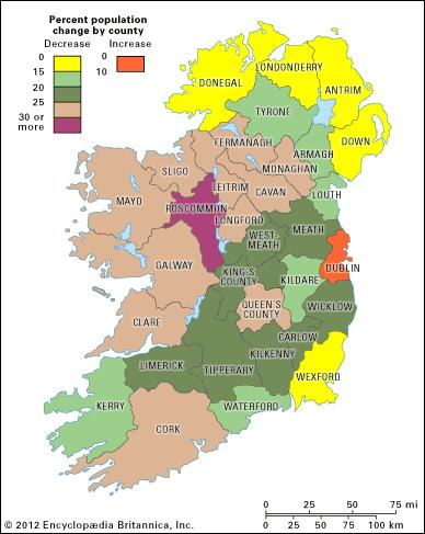 Population change in Ireland between 1841 and 1851 as a result of the Great Potato Famine. Source: Encyclopædia Britannica.