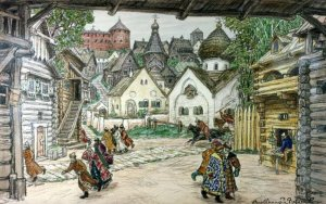 """The street in the town,"" by Apollinary Vasnetsov, 1911, shows residents of Novgorod fleeing at the arrival of the Oprichniki."