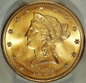 One of the more than 1,400 gold coins uncovered last spring by a Northern California couple.