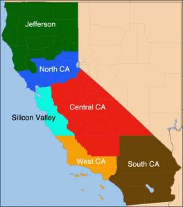 "Map showing how California would look under 'Six Californias"" partition plan."