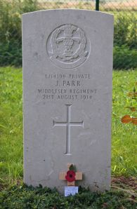 Gravestone of Pvt. John Parr, the first British casualty of World War I.