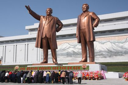 Statues of Kim Il Sung and Kim Jong Il on Mansu Hill in Pyongyang