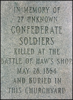 Marker to the unknown Confederate dead buried at Haw's Shop.