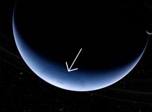 Neptune's purported hexagonal wind pattern. Photo by Rolf Wahl Olsen.