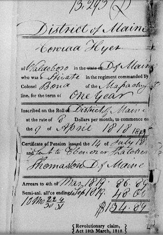 Revolutionary War pension form for Conrad Heyer (spelled Hyer), 1818.