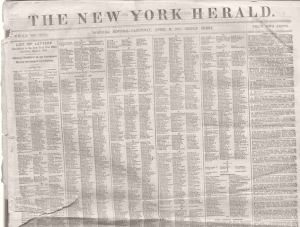 New York Herald, April 6, 1861, edition.