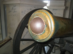 Close-up of 'Gettysburg Gun,' showing shot lodged in damaged muzzle.