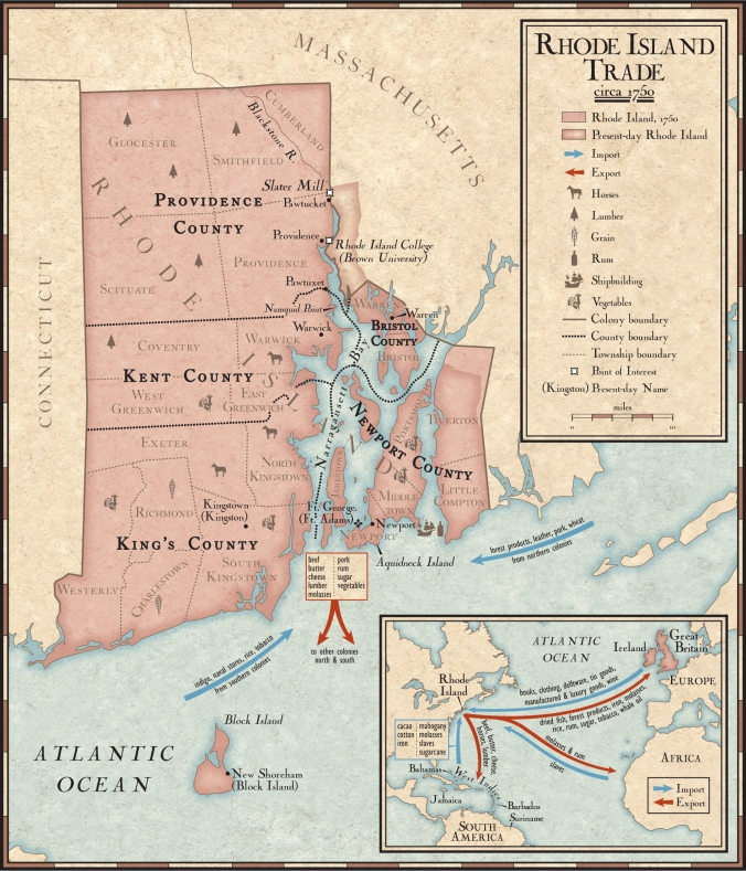 Map showing Rhode Island trade in 1750. Inset map includes slave trade by Rhode Island ships. Source: National Geographic.