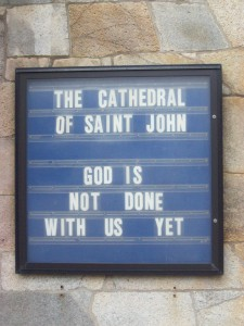 Message on front of Cathedral of St. John's, Providence, RI.