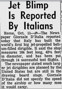 """Miami News article of Oct. 12, 1952, describing Italians' effort to develop """"jet blimp."""""""