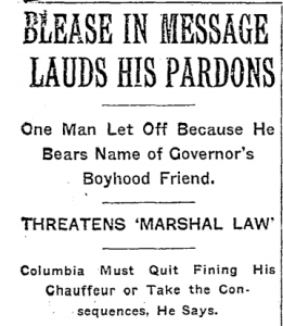 New York Times headlines on story about Cole Blease pardoning numerous prisoners, often for spurious reasons.