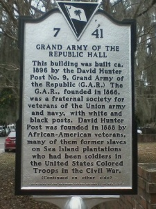 Historical marker in front of Grand Army Hall, Beaufort, SC.