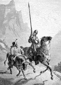 Image of knight errant Don Quixote and Sancho Panza, from Cervantes' work Don Quixote.