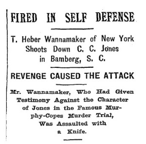 July 23, 1897 headline from New York Times detailing shooting of Charles Jones by Heber Wannamaker in Bamberg, SC.