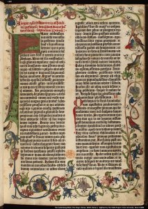 Page from the Gutenberg Bible, printed in 1455.