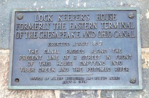 Plaque erected on Chesapeake and Ohio Canal lock keeper's house, Washington, DC, in 1928.