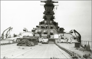 Front view of Musashi. Note size of chains running along deck in comparison to sailors.
