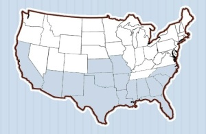 Map showing, in blue, US states where pecans are grown.