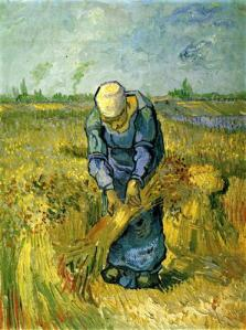Peasant Woman Binding Sheaves after Millet, Vincent van Gogh, 1889.