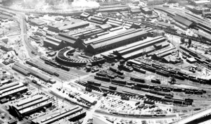 Sacramento's Southern Pacific shops, seen most likely during the first half of the 20th century. Photo courtesy of Architectural Resources Group Ltd.