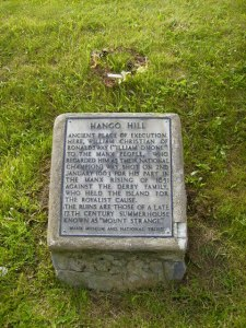 Plaque at Hango Hill marking site where Illiam Dhône was executed on Jan. 2, 1663.