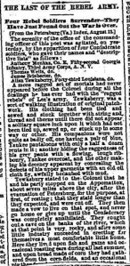 Top part of Chicago Tribune story that appeared on Aug. 20, 1866, about four purported Confederates turning themselves in more nearly 18 months after the end of the war.