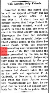 Bamberg Herald article from Feb. 9, 1911, detailing Gov. Cole Blease's statement to appoint only friends to office whenever possible.