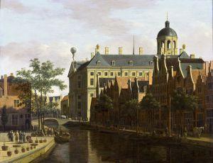 The Nieuwezijds Voorburgwal near the Bloemmarkt, by Gerrit Berckheyde, ca. 1675.