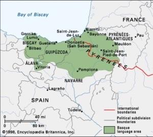 Map showing Basque region in green.