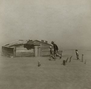 Dust storm moving through Cimarron County, Okla., in the Oklahoma Panhandle, in the 1930s.