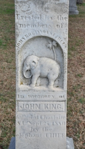 Gravestone of John King, killed by elephant Chief, September 27, 1880, in Charlotte, NC.